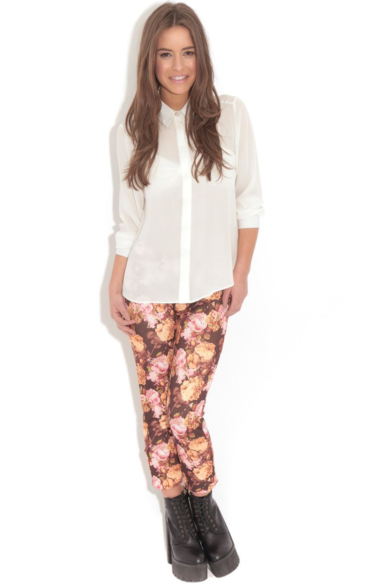 Violet Brown & Beige Floral Print Trousers 1