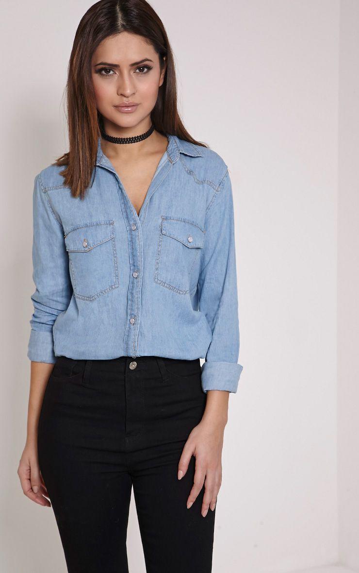 Fion Light Blue Wash Denim Shirt 1