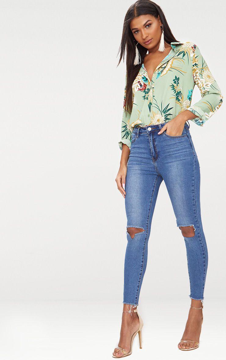 Square Knee Rip Skinny Jean