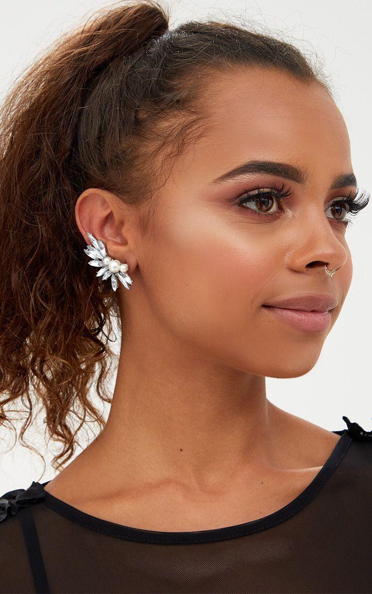 Silver Pearl Crystal Ear Cuff