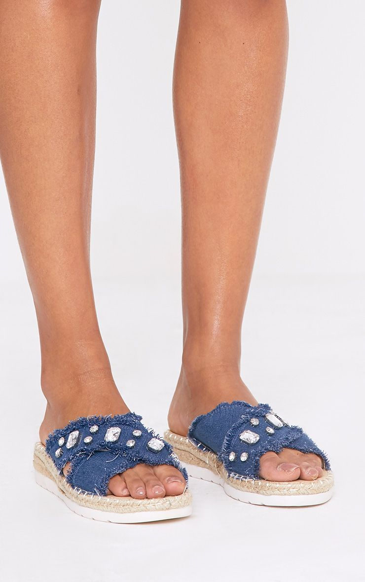 Bette Blue Jewelled Denim Sliders