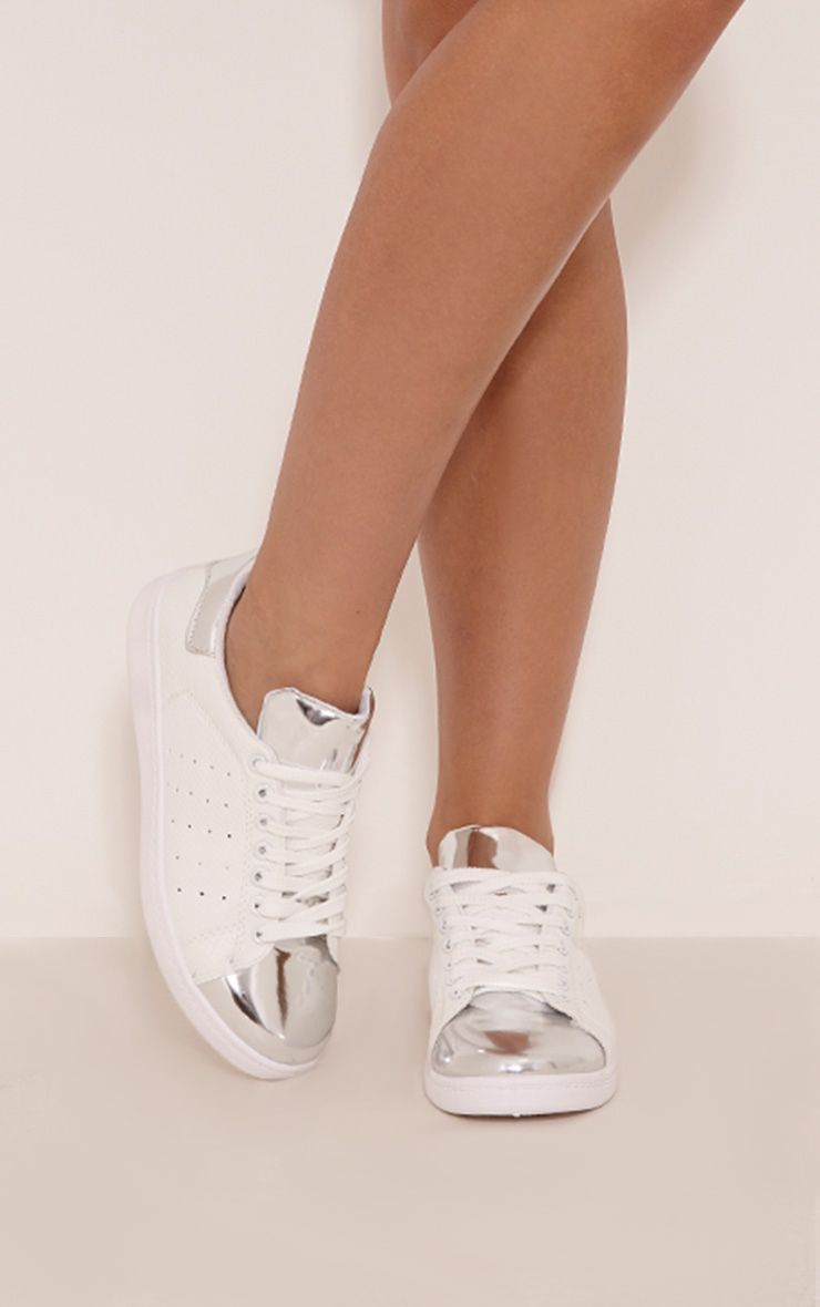 Alix Silver Metallic Detail Casual Trainers 1