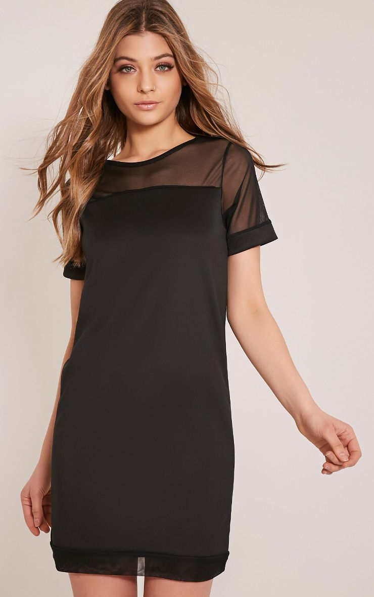 Kaisa Black Mesh Insert T Shirt Dress 1