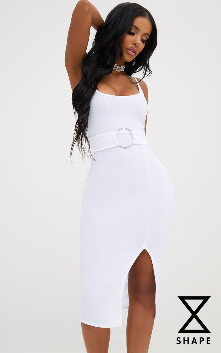 Shape White Front Split O-Ring Midi Dress