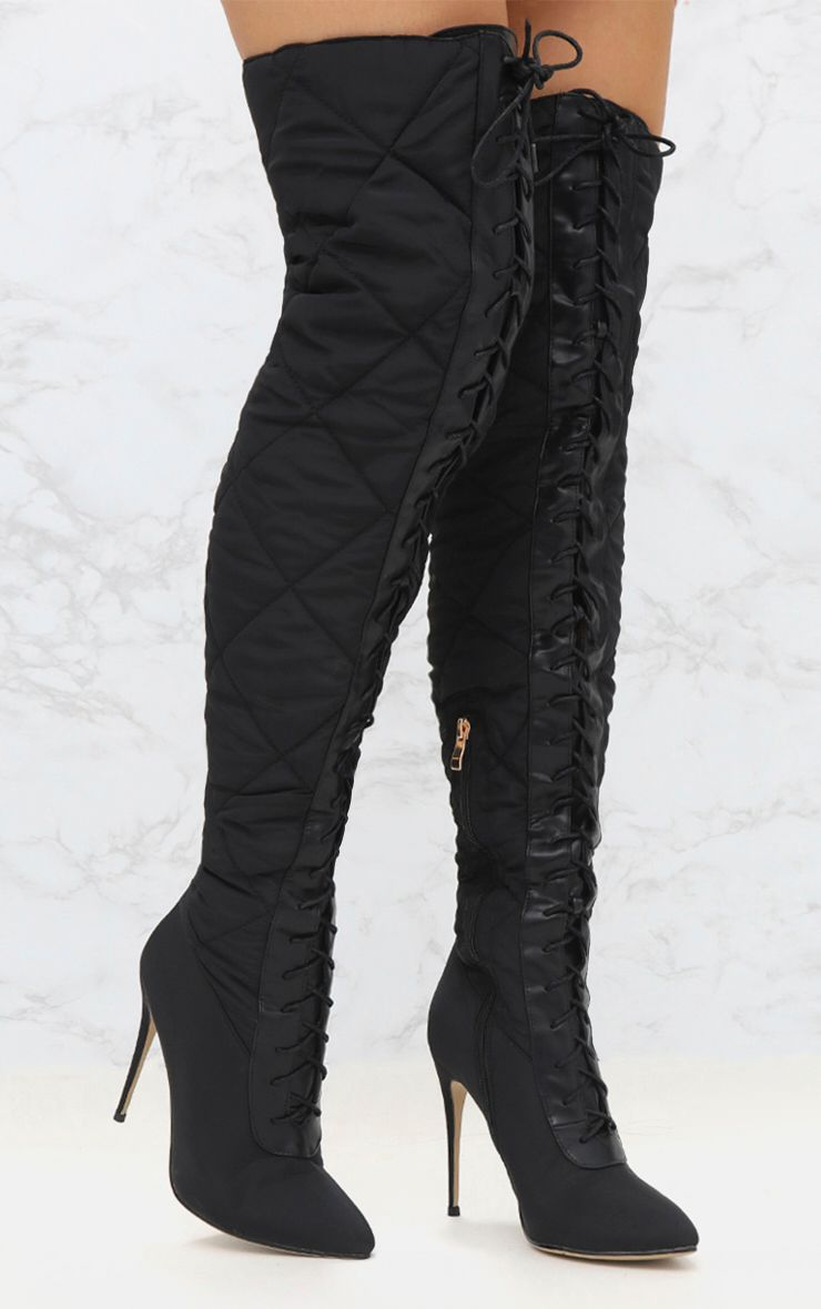 Black Thigh High Puffer Heeled Boots