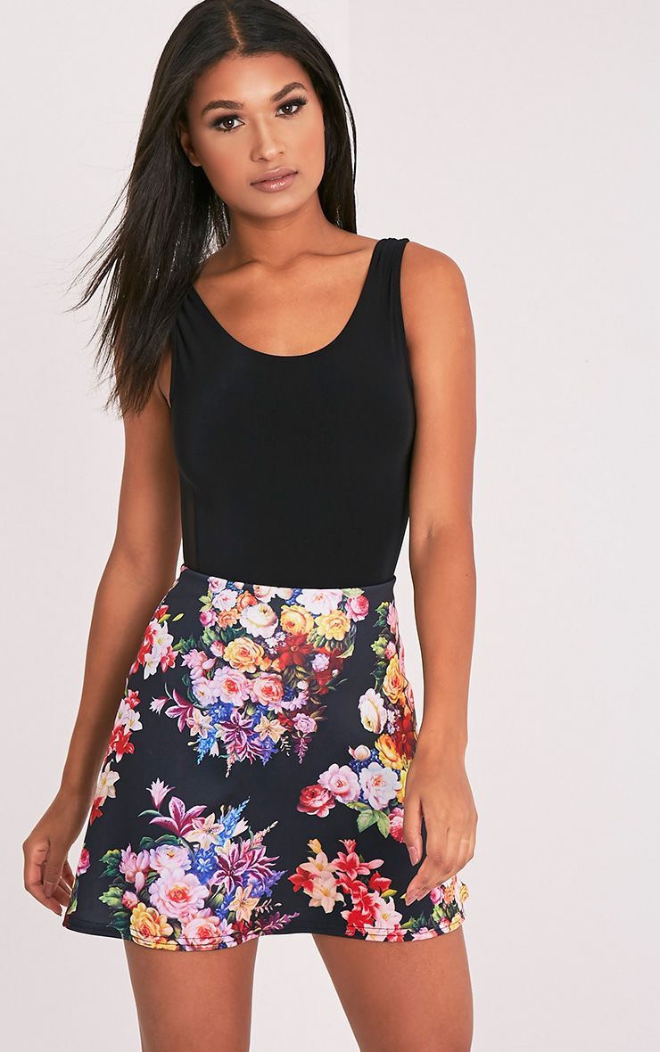 Tamira Black Floral A-Line Mini Skirt 1