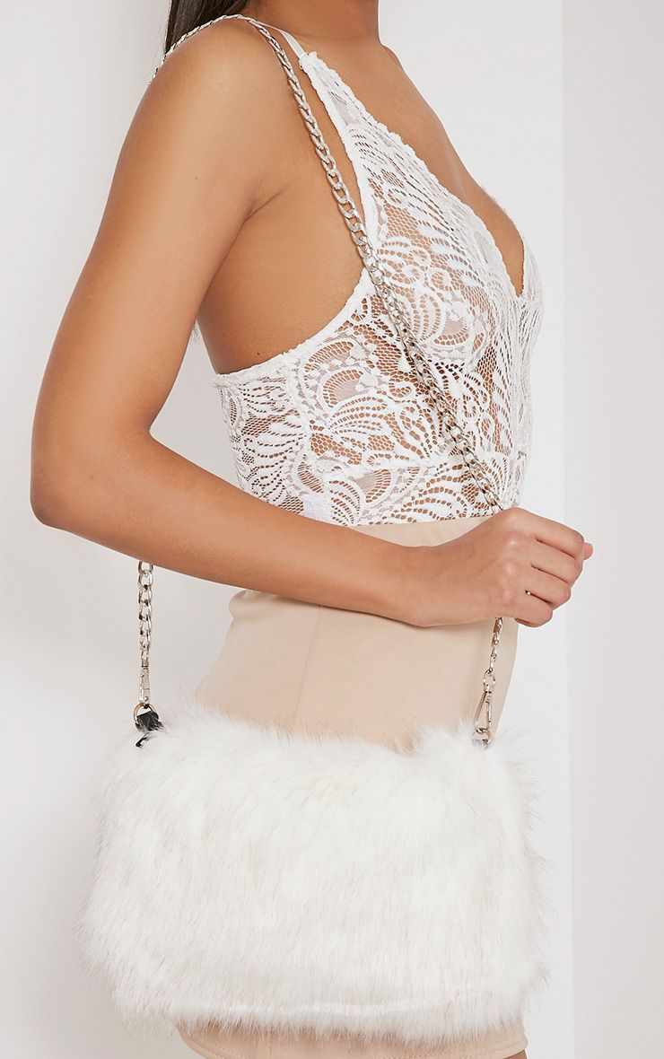 Christah White Faux Fur Chain Shoulder Bag 1