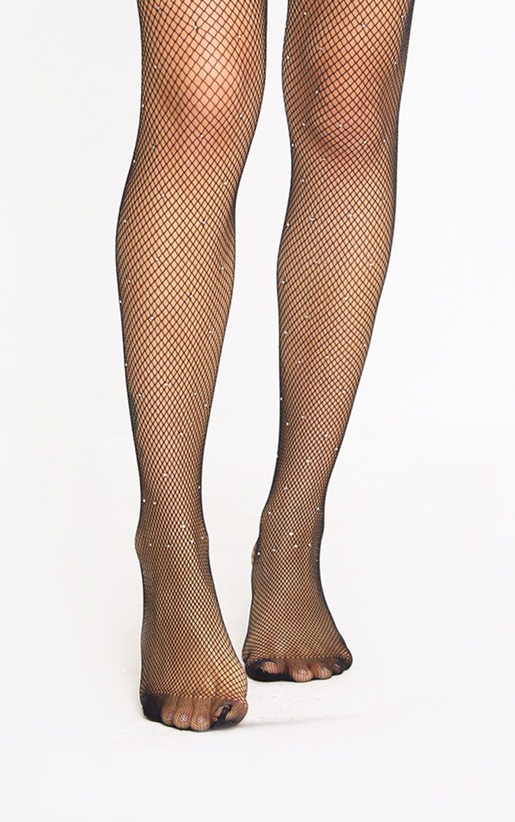 Black Front Diamante Fishnet Tights