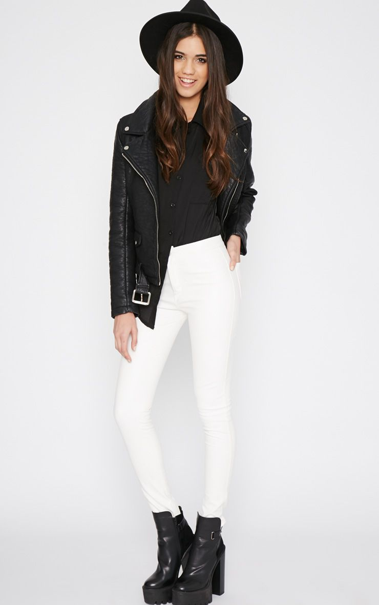 Lina White Skinny Leather Trouser 1