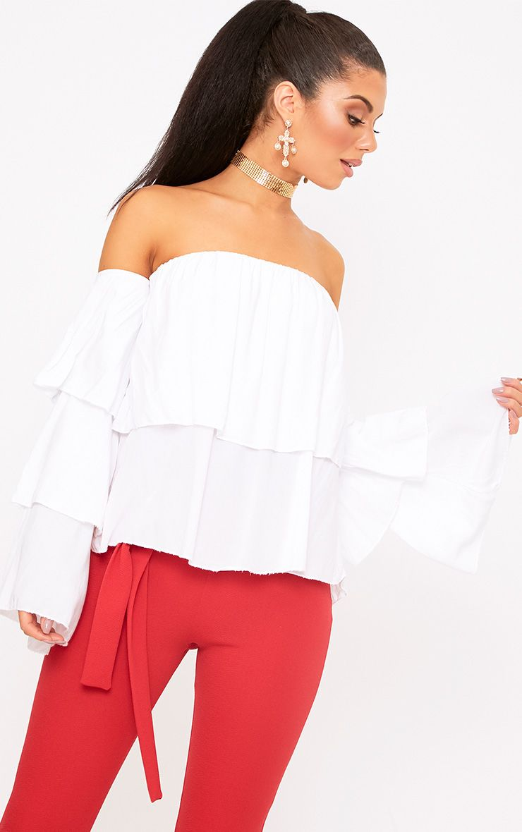 White Bardot Frill Sleeve Soft Shirt
