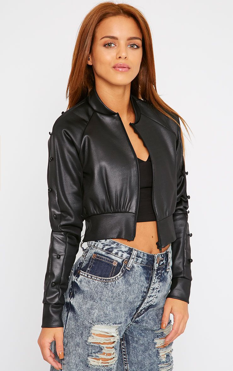 Naomi Black Cropped Bomber 1