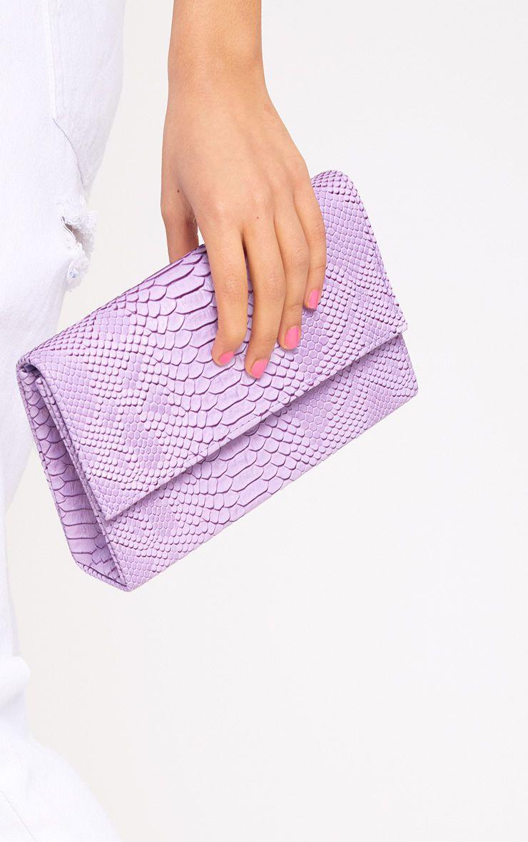 Lilac Snakeskin Clutch
