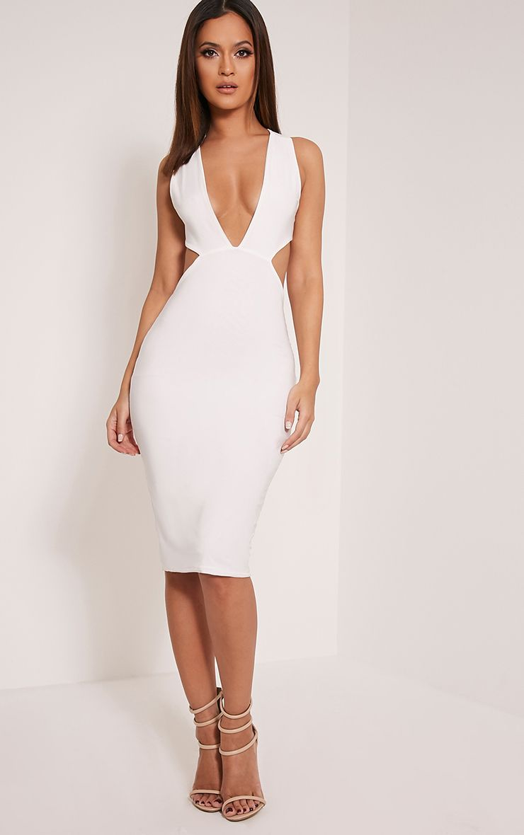 Biddy Cream Deep V Plunge Cross Back Midi Dress 1