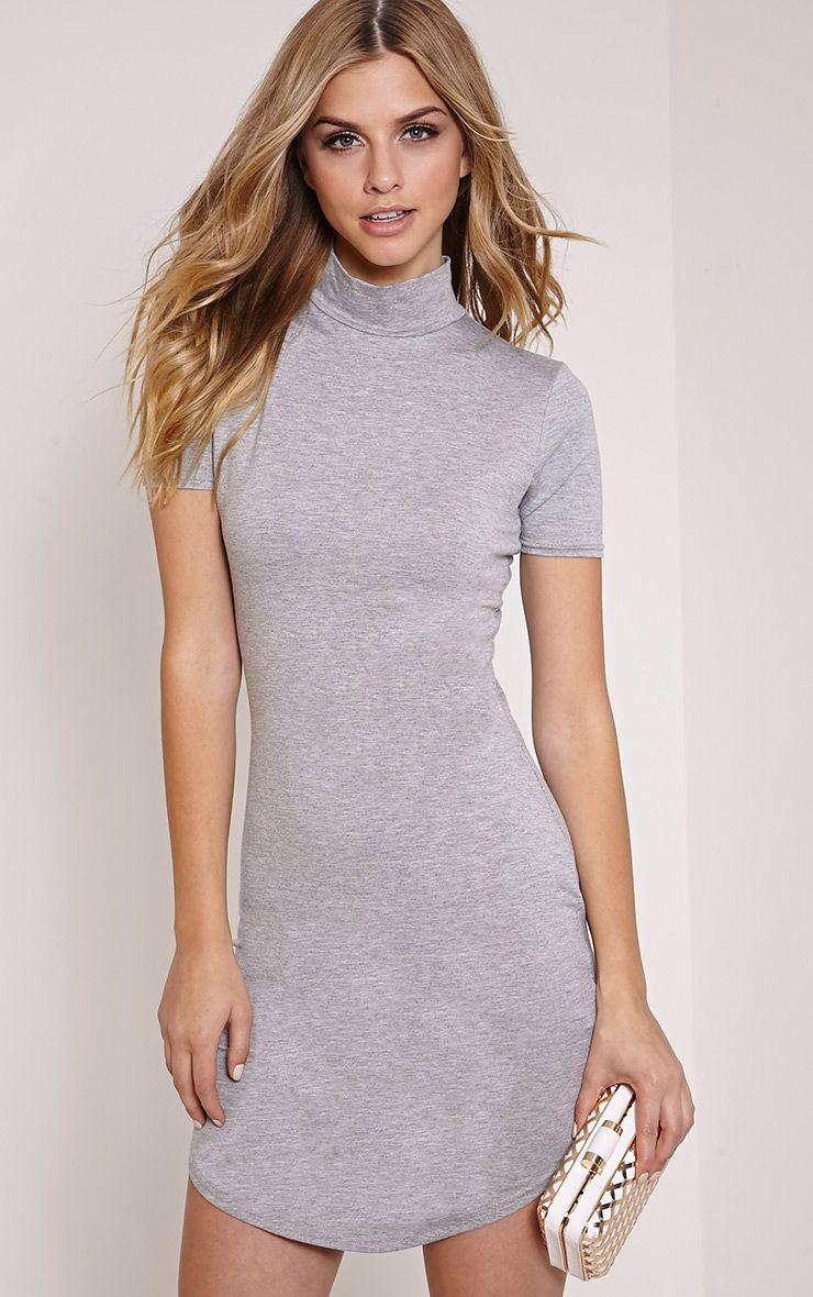 Alby Grey Marl Cap Sleeve Curve Hem High Neck Dress 1