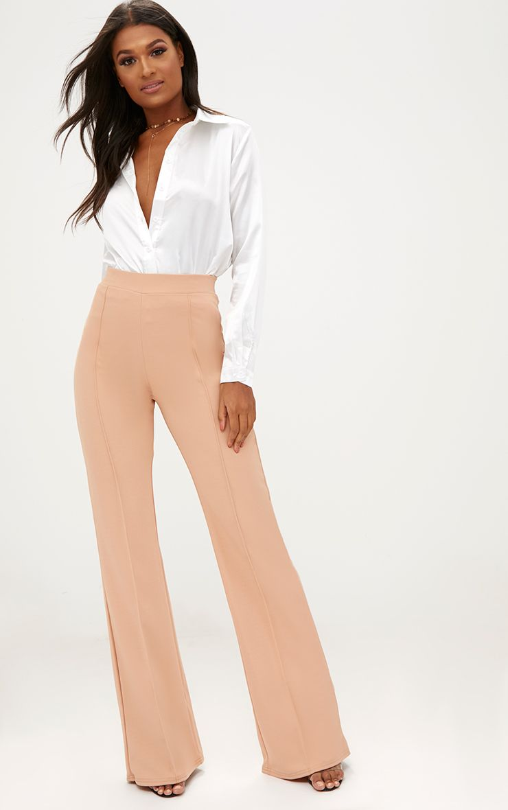 Sand Front Seam Wide Leg Trousers