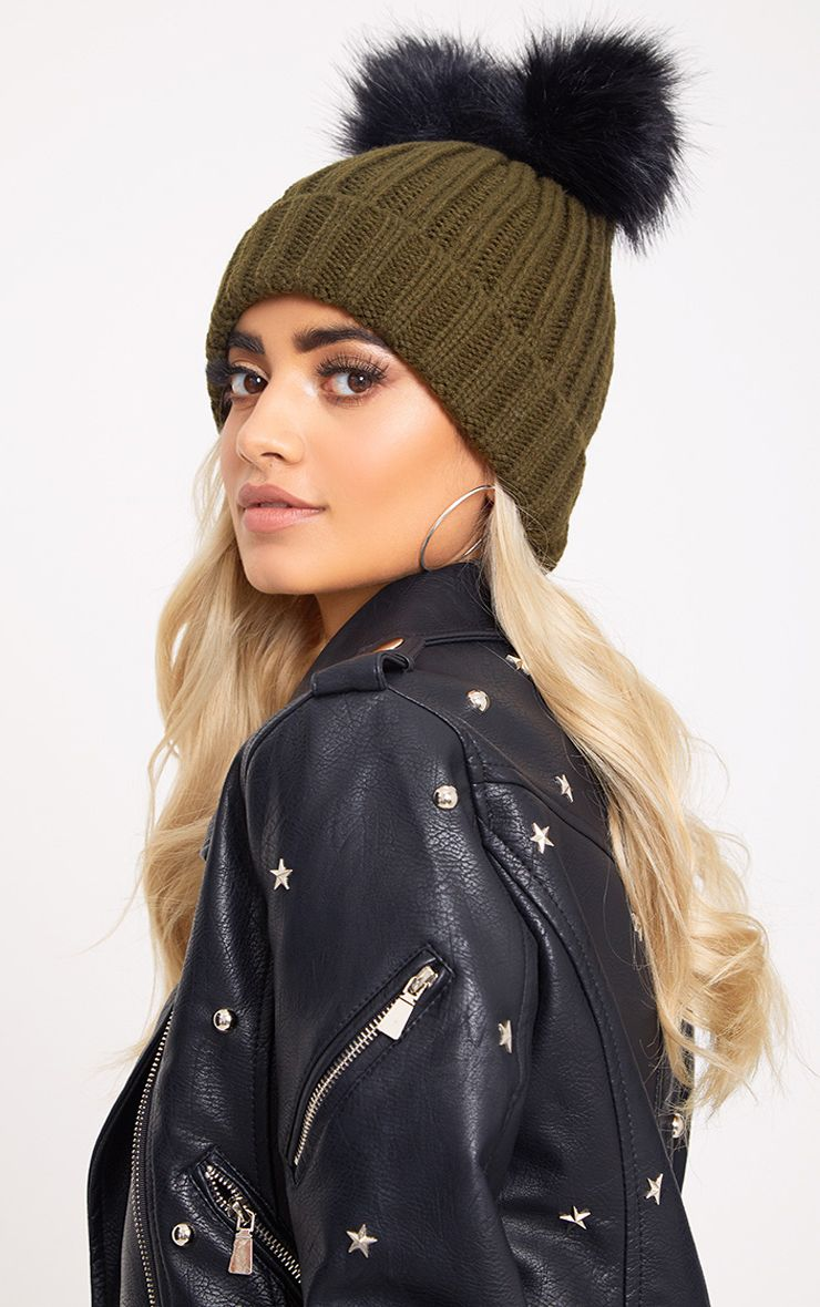 Khaki Double Pom Ribbed Beanie