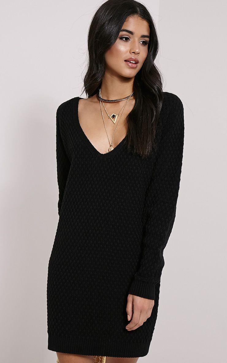 Hatty Black V Neck Jumper Dress 1