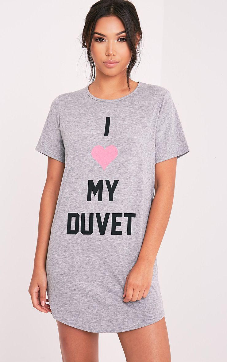 I Love My Duvet Grey Marl Oversized Nightie 1