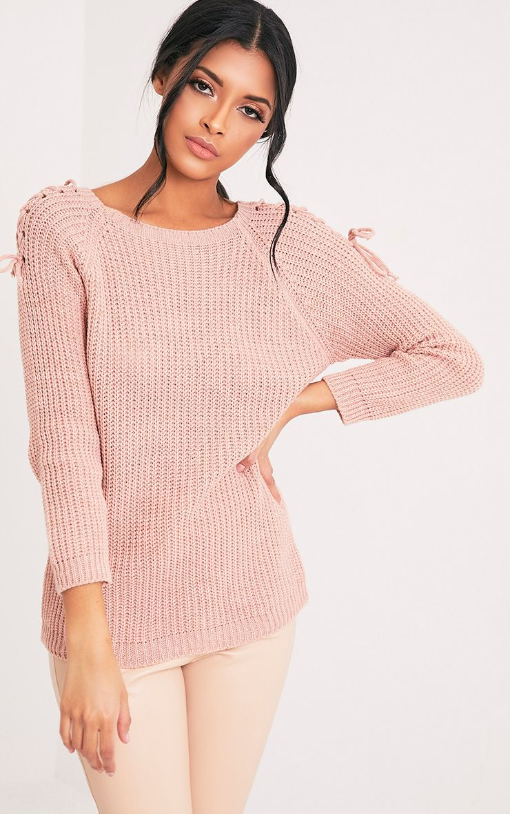 Vianni Blush Lace up Sleeve Knitted Jumper