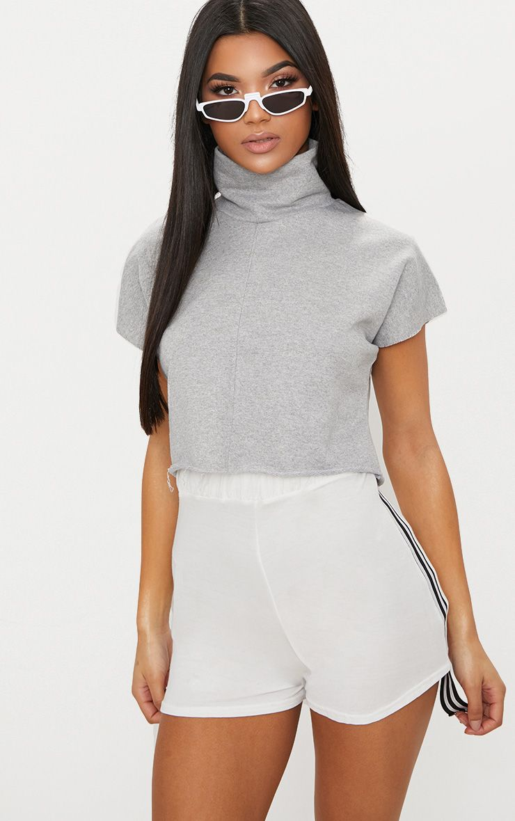 Grey Boxy Funnel Neck Cut Off Sweater  1