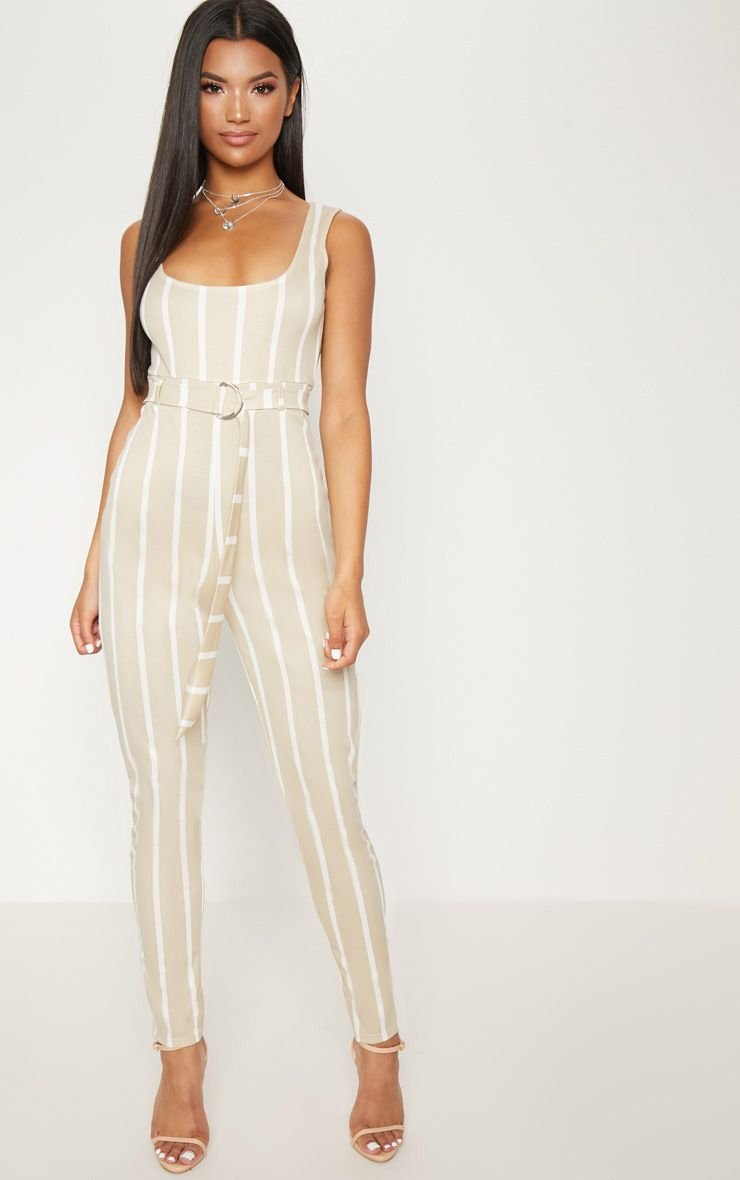 Stone Stripe Belted Jumpsuit