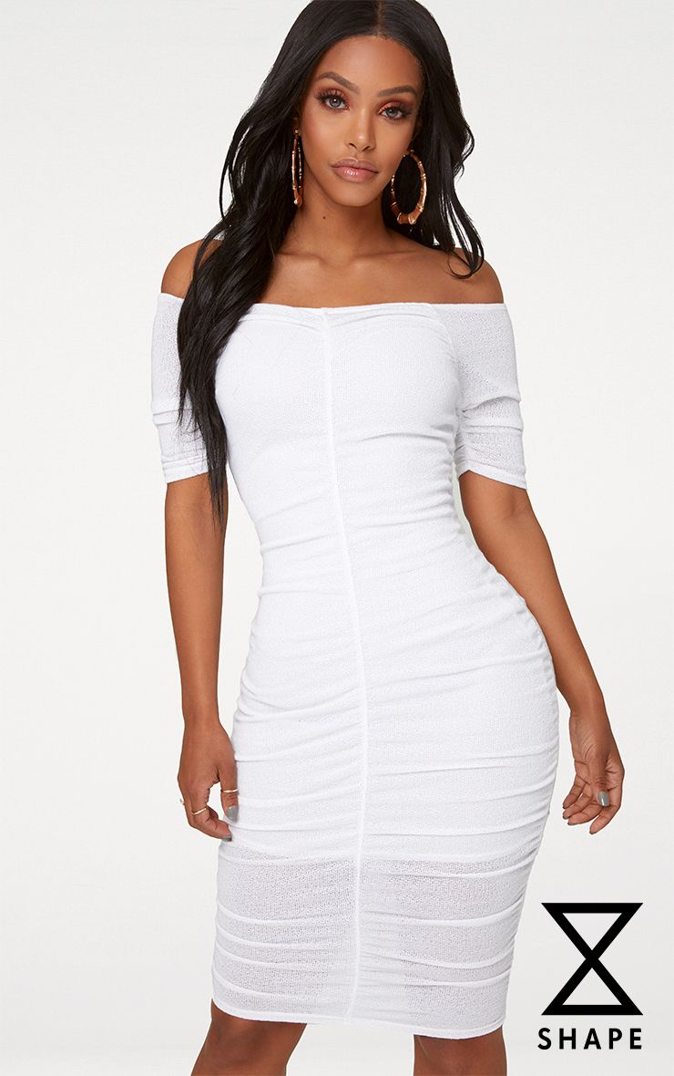 Shape White Lightweight Knit Bardot Dress