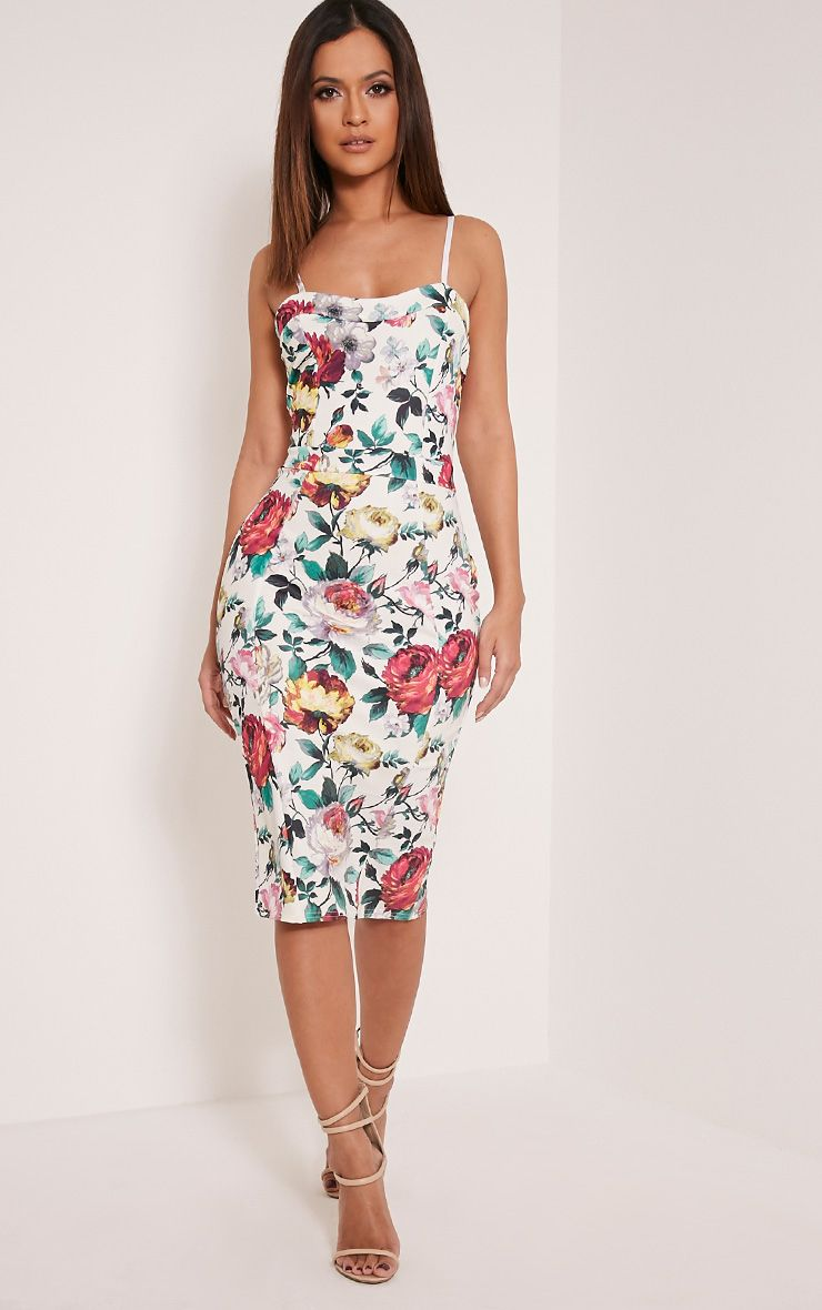 Dinah White Floral Rose Print Strappy Midi Dress 1