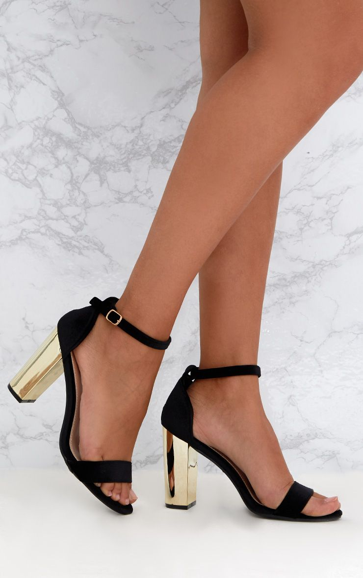 Black Velvet Metallic Heels
