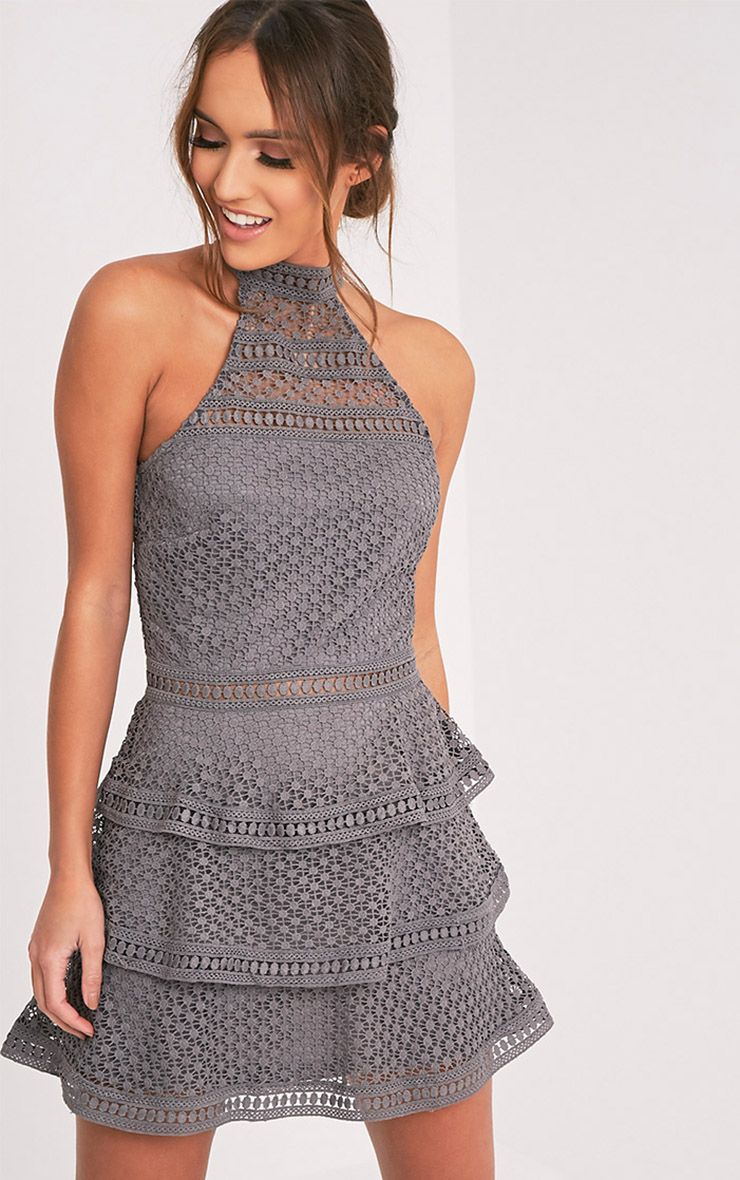 Raine Grey Lace Panel Tiered Mini Dress