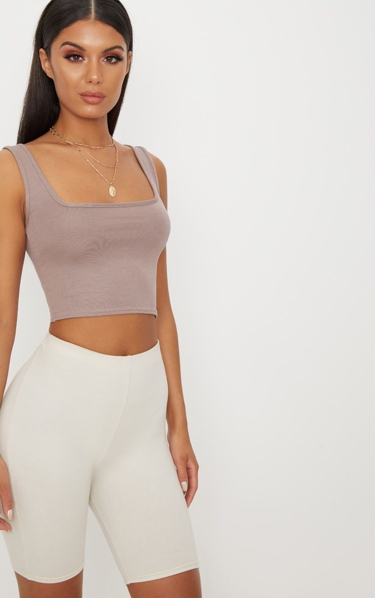 Basic Taupe Jersey Square Neck Crop Vest