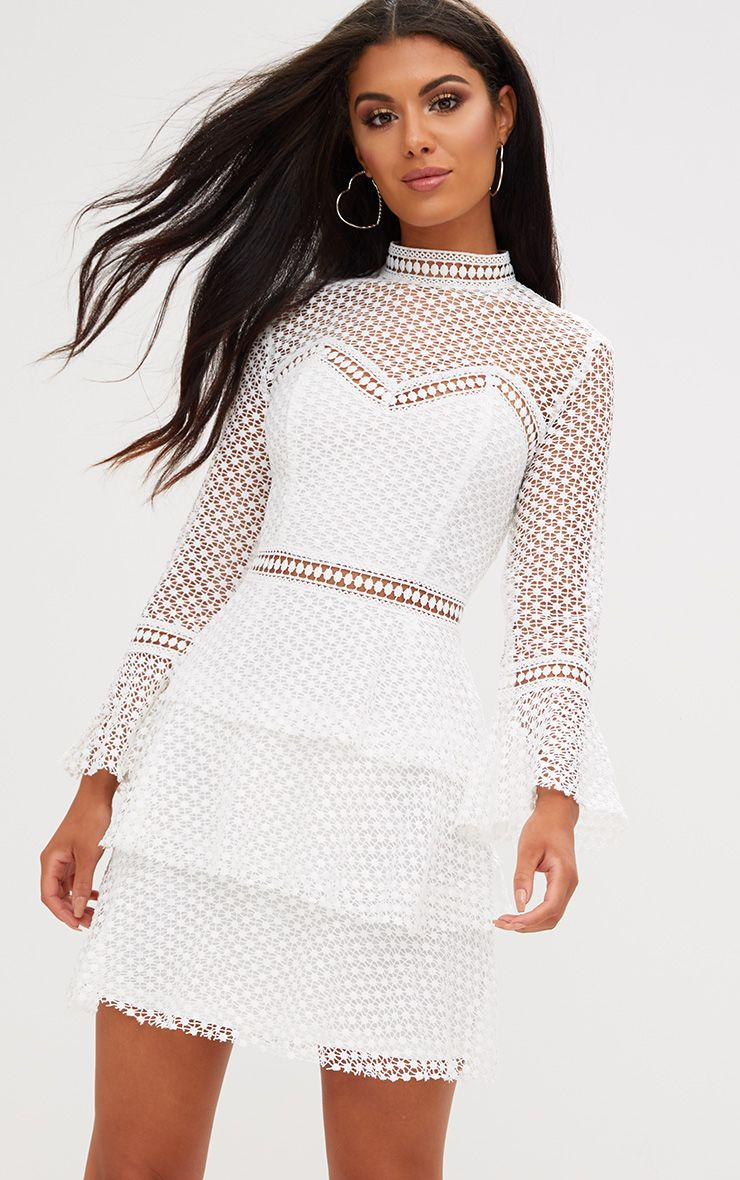 White Flare Sleeve Lace Tiered Mini Dress