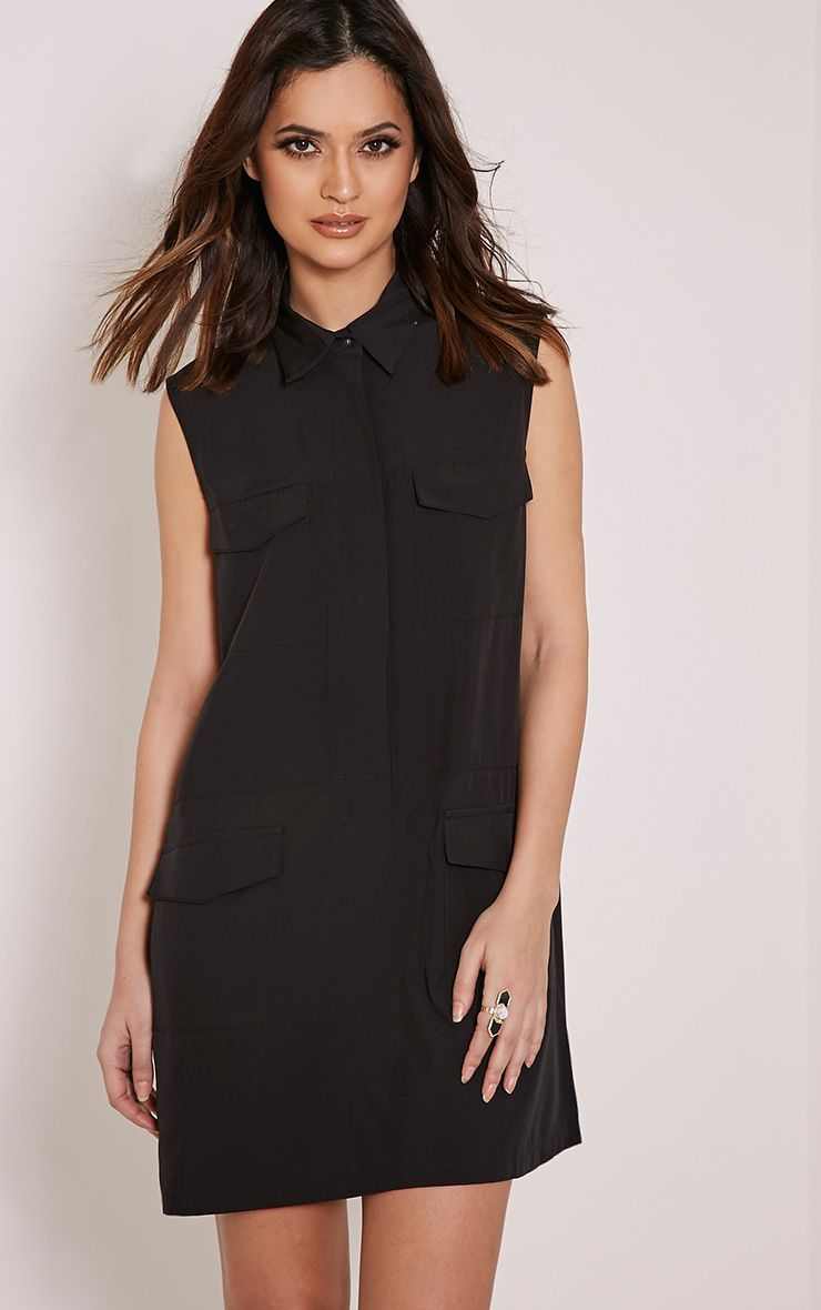 Petra Black Utility Shift Dress 1