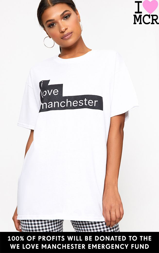Charity White I Love Manchester T Shirt