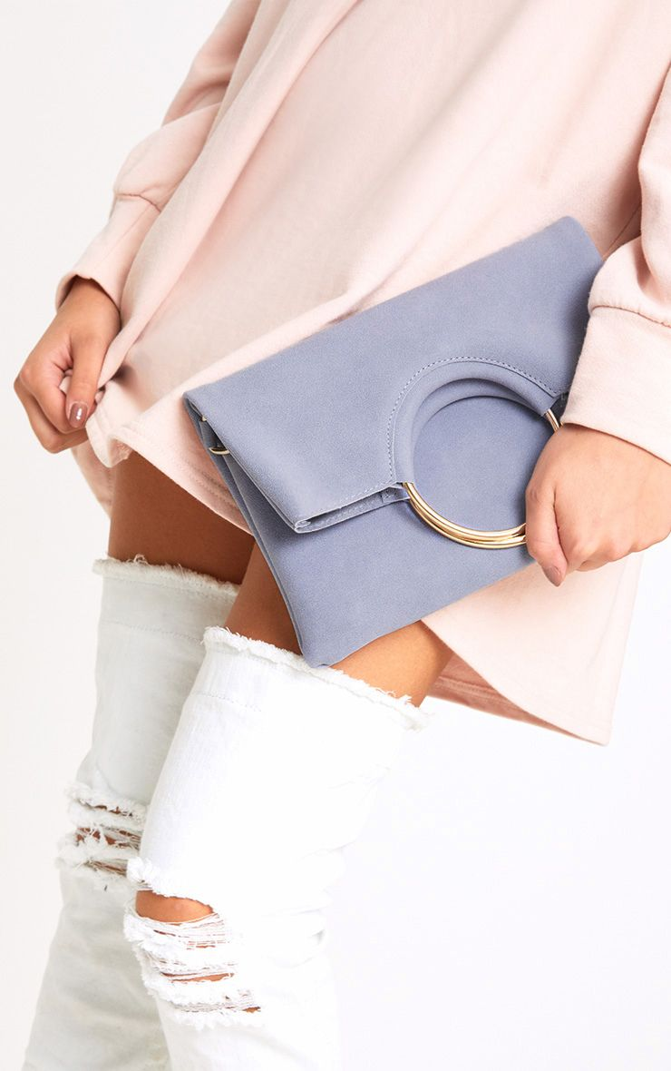 Grey Ring Detail Fold Over Clutch