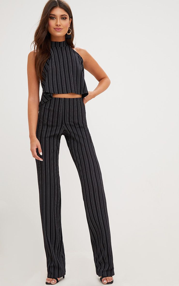 Black Wide Leg Stripe Trousers