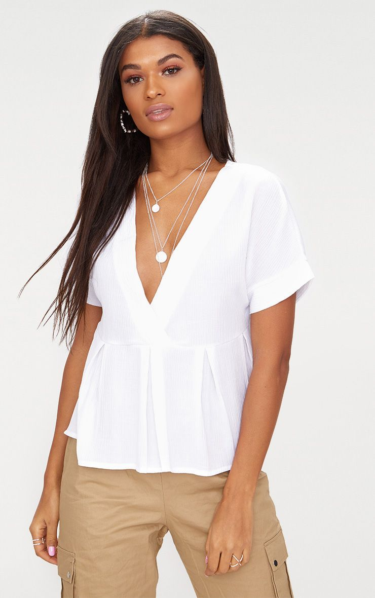 White Cheesecloth Shortsleeve Plunge Blouse
