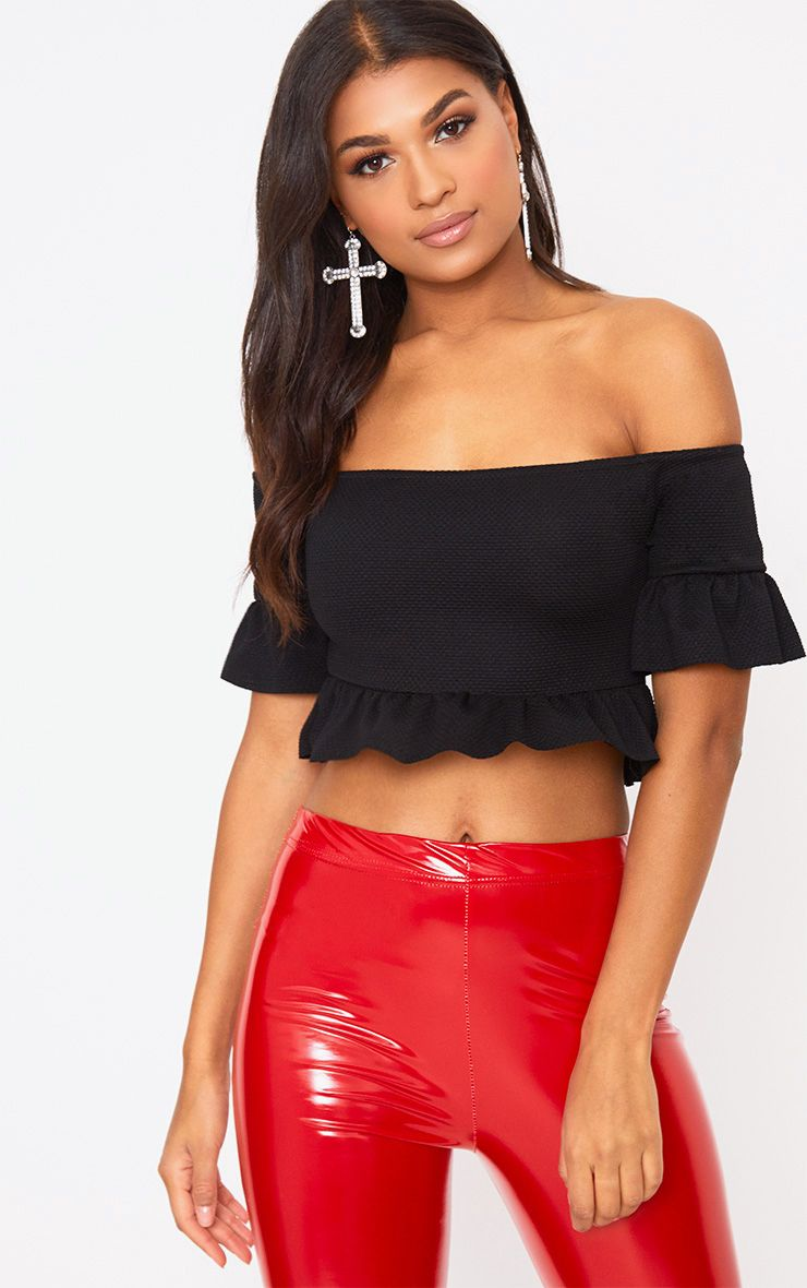 Black Textured Bardot Frill Crop Top