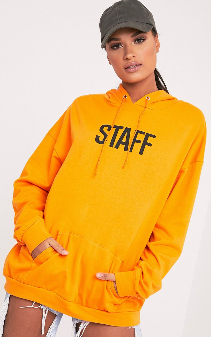 STAFF Slogan Orange Oversized Hoodie 1
