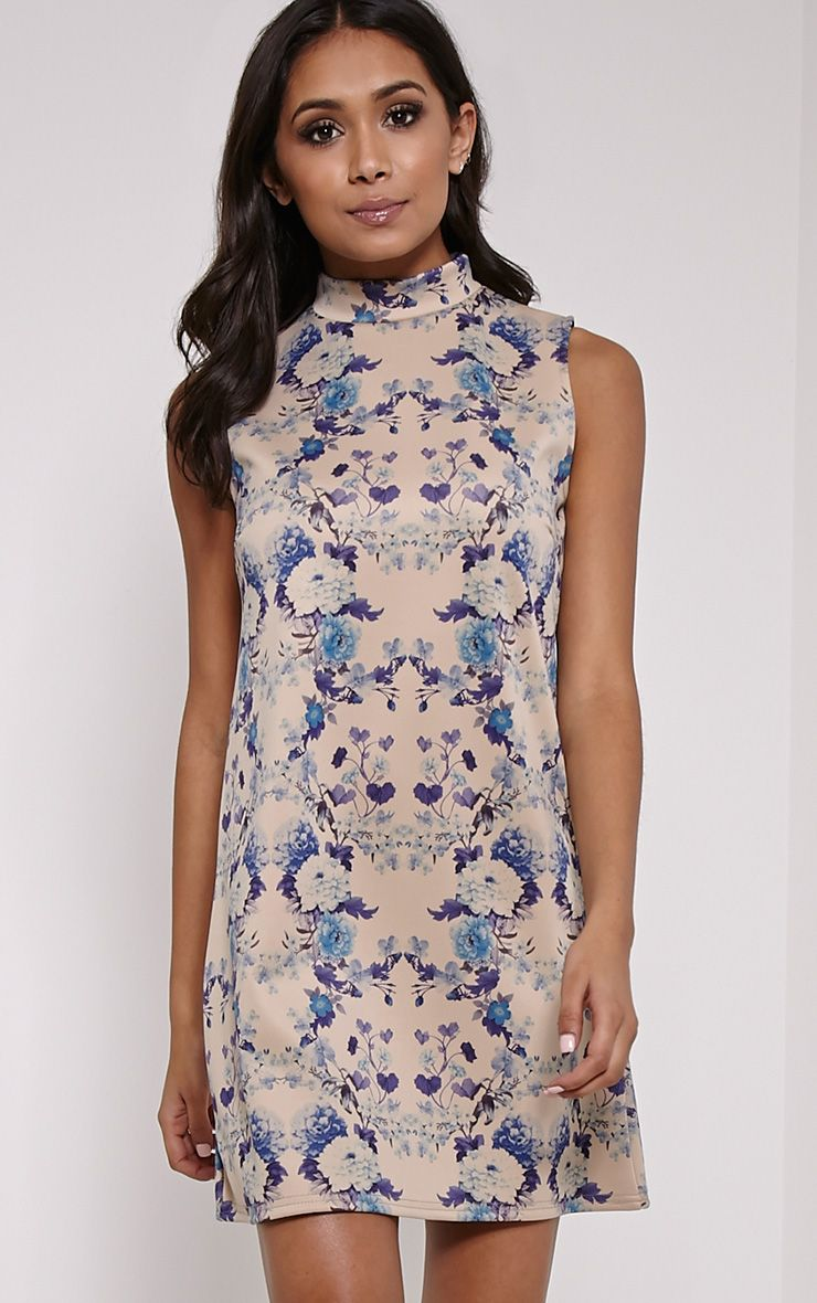 Ayla Blue Floral Print High Neck Shift Dress 1