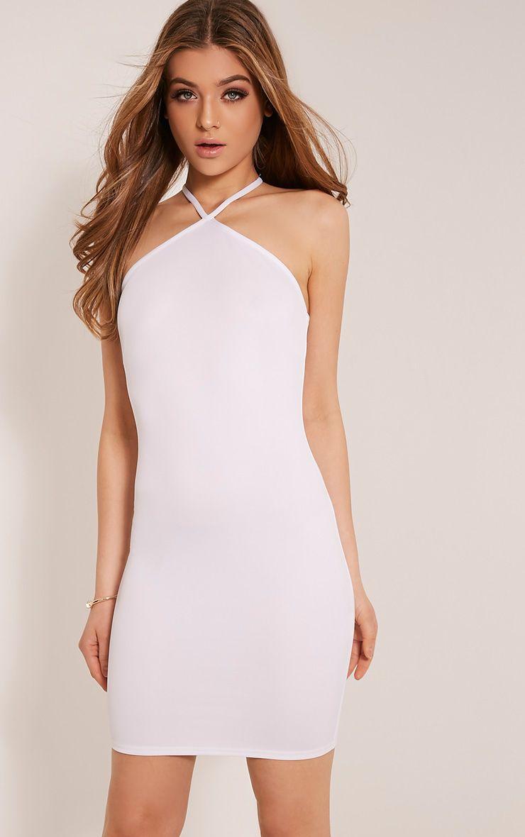 Emmen White Triangle Neckline Bodycon Dress 1