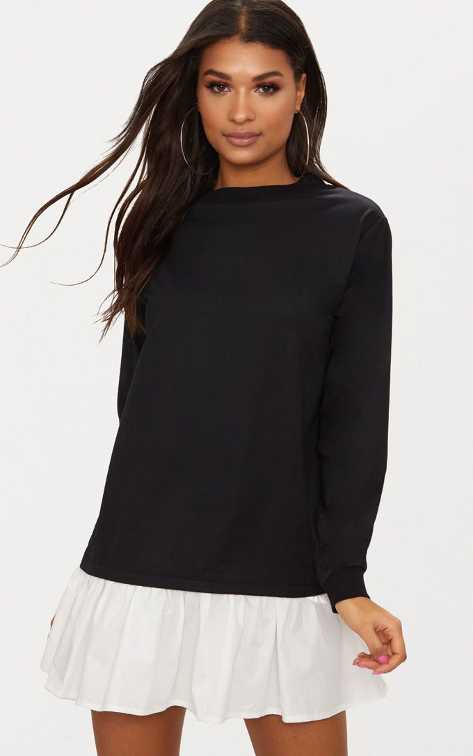 Black Sweater Dress with Poplin Frill