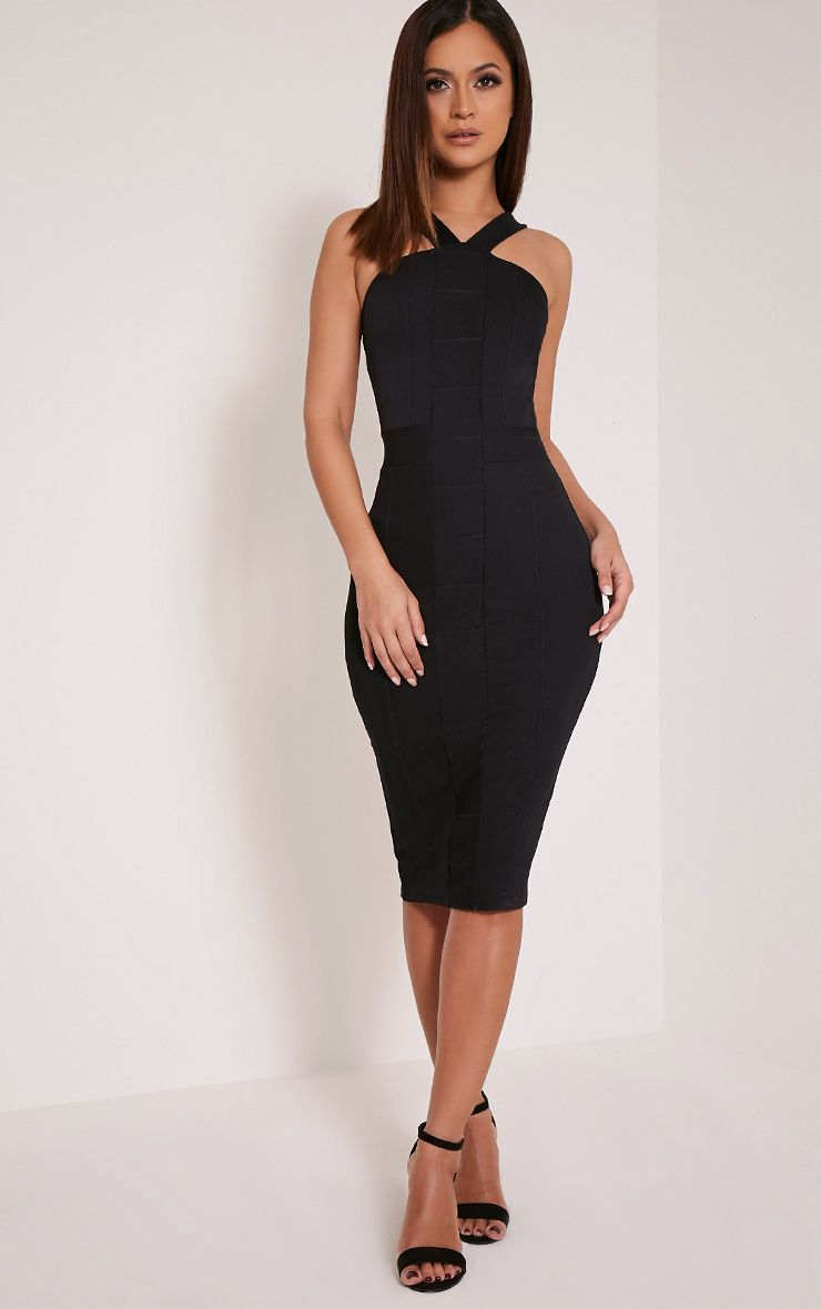 Meryl Black Bandage Strap Detail Bodycon Dress 1