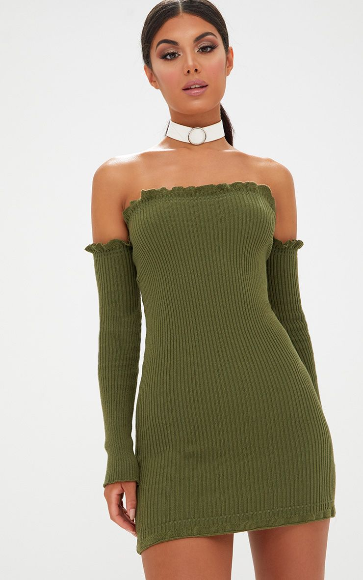 Khaki Ruffle Detail Knit Bardot Long Sleeve Mini Dress