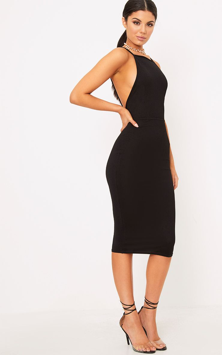 Black Strappy Open Back Midi Dress