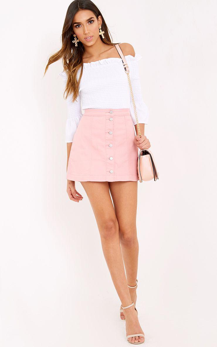 Pink Cammie Denim Mini Skirt | PrettyLittleThing