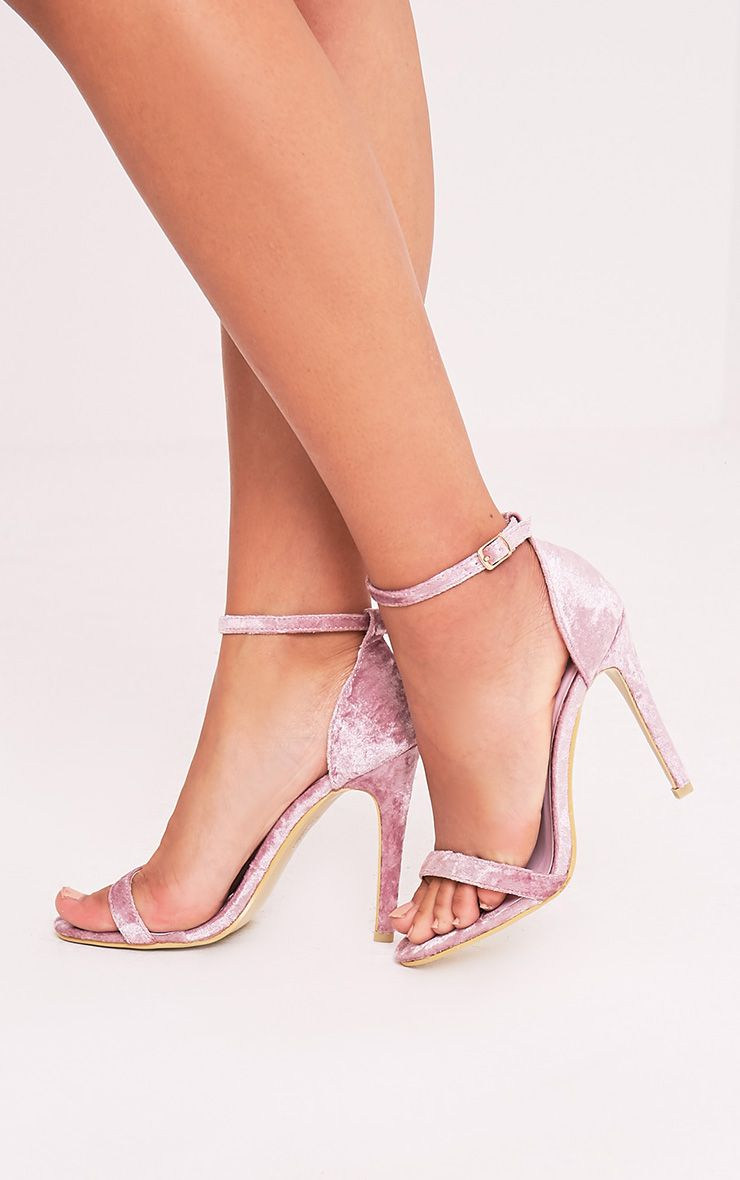 Clover Blush Velvet Strap Heeled Sandals