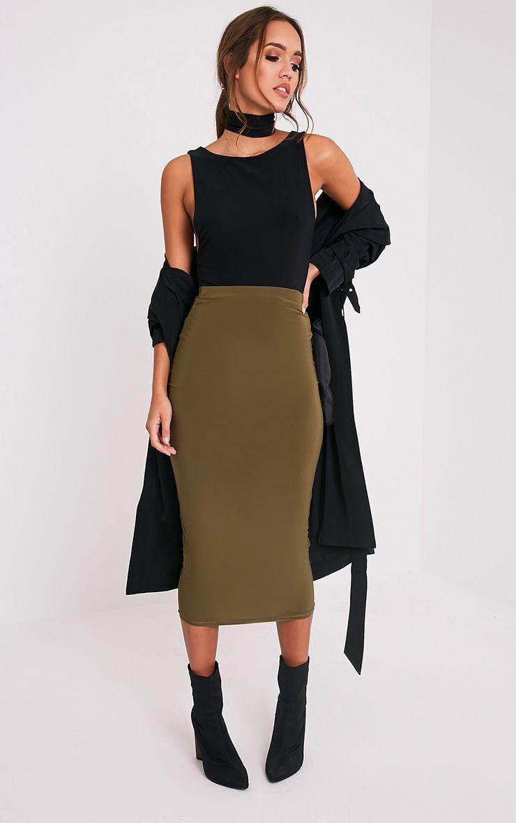 Steffany Khaki Slinky Long Line Midi Skirt