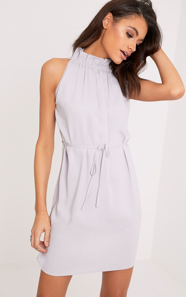 Liza Ice Grey Frill Neck Swing Dress 1