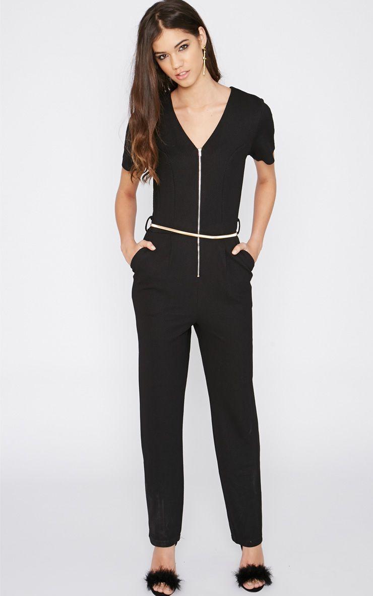 Lenora Black Zip Jumpsuit 1