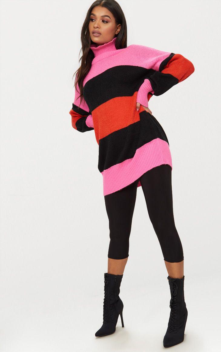 Orange Stripe Oversized Knitted Jumper